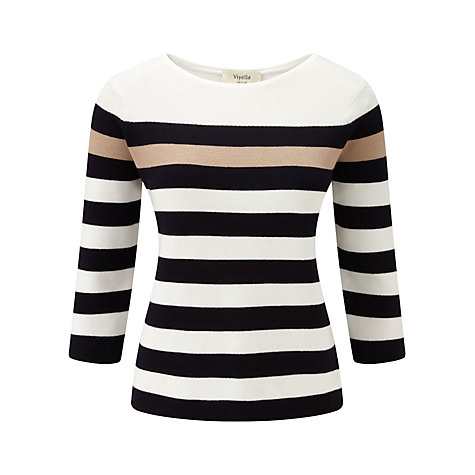 Buy Viyella Petite Moss Stitch Jumper, Navy Online at johnlewis.com