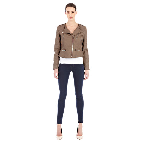 Buy Warehouse Collarless Biker Jacket, Mink Online at johnlewis.com