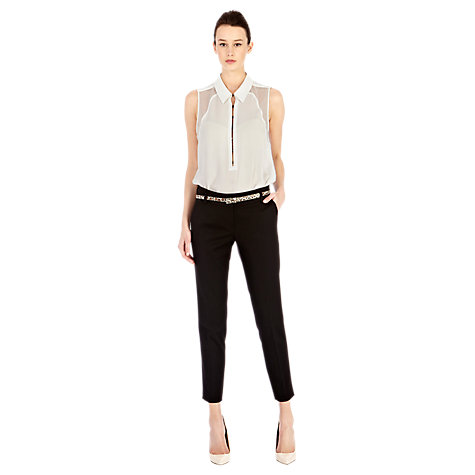 Buy Warehouse Double Waistband Trousers, Black Online at johnlewis.com
