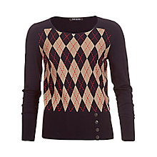 Buy Betty Barclay Argyle Button Jumper, Dark Blue/Camel Online at johnlewis.com