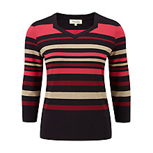 Buy Viyella Matalo Posh Stripe Top, Navy / Pink Online at johnlewis.com