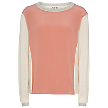 Buy Reiss Silk Front Jumper, Champagne Online at johnlewis.com