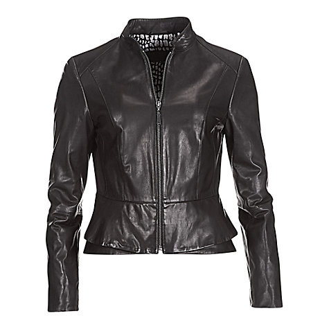 Buy Betty Barclay Zip Front Leather Jacket, Black Online at johnlewis.com