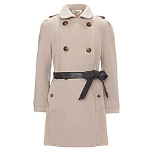 Buy Somerset by Alice Temperley Girls' Woven Trench Coat with Leather Belt, Stone Online at johnlewis.com