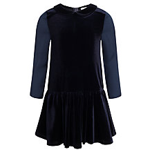 Buy John Lewis Girl Drop Waist Velvet Dress, Navy Online at johnlewis.com
