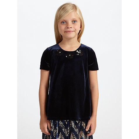 Buy John Lewis Girl Sequin Flower Detail Velvet Top, Navy Online at johnlewis.com