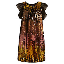 Buy John Lewis Girl All Over Sequin Dress, Gold/Multi Online at johnlewis.com