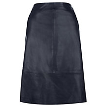 Buy Jigsaw A-Line Leather Skirt, Navy Online at johnlewis.com