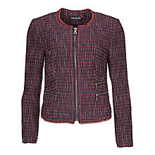 Buy Betty Barclay Tweed Zip Jacket, Red / Navy Online at johnlewis.com