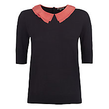 Buy Jigsaw Silk Collared Jumper, Navy Online at johnlewis.com