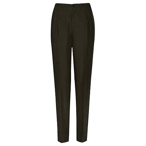Buy Jigsaw Linen Smart Trousers, Khaki Online at johnlewis.com