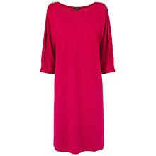 Buy Jaeger Button Jersey Dress, Bright Pink Online at johnlewis.com