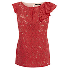 Buy Oasis Lace Ruffle Detail Shell Top, Coral Online at johnlewis.com
