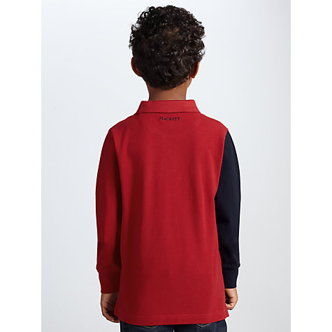 Buy Hackett London Boys' Sash Rugby Shirt, Red/Blue Online at johnlewis.com