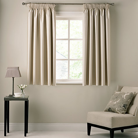 Buy Faux Silk Coated Thermal Blackout Pencil Pleat Curtains Online At