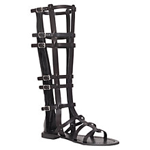 Buy Carvela Krown Knee-High Leather Gladiator Sandals, Black Online at johnlewis.com
