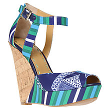 Buy Nine West Kaiyra2 Wedged Sandals, Green/Blue Online at johnlewis.com