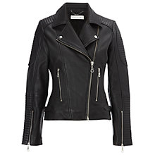 Buy Whistles Patti Leather Biker Jacket, Black Online at johnlewis.com