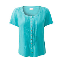 Buy East Linen Pintuck Blouse, Turquoise Online at johnlewis.com