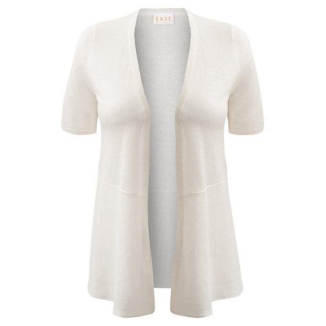 Buy East Short Sleeve Linen Cardigan, White Online at johnlewis.com