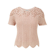 Buy CC Sequin Crochet Jumper, Pale Gold Online at johnlewis.com