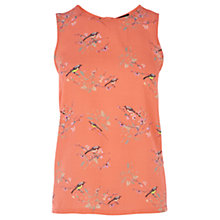 Buy Warehouse Bird Print Shell Top, Coral Online at johnlewis.com