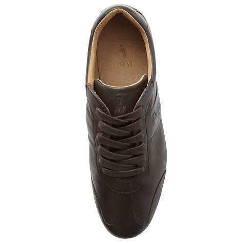 Buy Polo Ralph Lauren Lansil Leather Trainers, Dark Brown Online at johnlewis.com