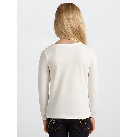 Buy John Lewis Girl Christmas Dog Long Sleeved Top, Cream Online at johnlewis.com