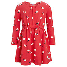 Buy John Lewis Girl Floral Long Sleeve Dress, Red Online at johnlewis.com
