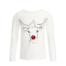Buy John Lewis Girl Christmas Reindeer Long Sleeved Top, Cream Online at johnlewis.com