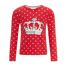 Buy John Lewis Girl Long Sleeve Polka Dot Crown Top, Poinsettia Online at johnlewis.com