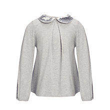 Buy John Lewis Girl Peter Pan Collar Long Sleeve Top, Grey Online at johnlewis.com