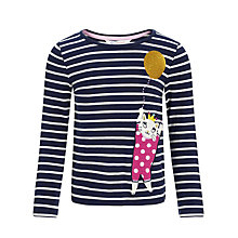 Buy John Lewis Girl Cat and Balloon Long Sleeve Top, Navy Online at johnlewis.com