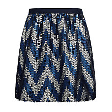 Buy John Lewis Girl Sequin Zig Zag Skirt, Blue/Silver Online at johnlewis.com
