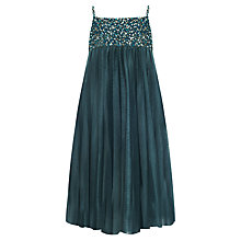 Buy John Lewis Girl Sequin Bodice Empire Waist Dress, Teal Online at johnlewis.com