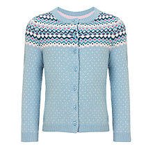 Buy John Lewis Girl Fair Isle Knit Cardigan, Light Blue Online at johnlewis.com