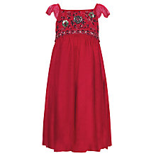 Buy John Lewis Girl Empire Line Beaded Dress, Red Online at johnlewis.com
