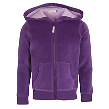 Buy John Lewis Girl Velour Zip Through Hoodie, Purple Online at johnlewis.com