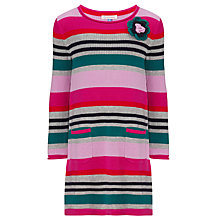 Buy John Lewis Girl Striped Knitted Dress, Pink/Multi Online at johnlewis.com