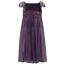 Buy John Lewis Girl Empire Line Velvet Bodice Dress, Purple Online at johnlewis.com