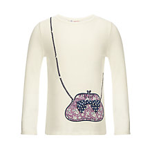 Buy John Lewis Girl Long Sleeve Handbag Top, Cream Online at johnlewis.com