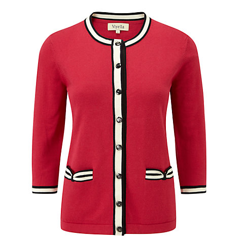 Buy Viyella Petite Bow Cardigan, Cranberry Online at johnlewis.com