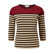 Buy Viyella Breton Stripe Top, Copper Online at johnlewis.com