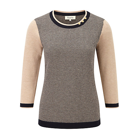 Buy Viyella Herringbone Jumper, Camel/Navy Online at johnlewis.com
