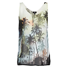 Buy Mango Palm Print Top, Black Online at johnlewis.com