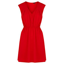 Buy Warehouse Zip Shoulder Crepe Dress, Bright Red Online at johnlewis.com