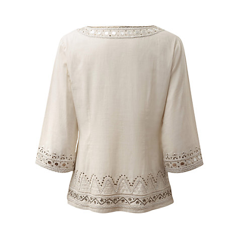 Buy East Mirror Work Tunic Top, White Online at johnlewis.com