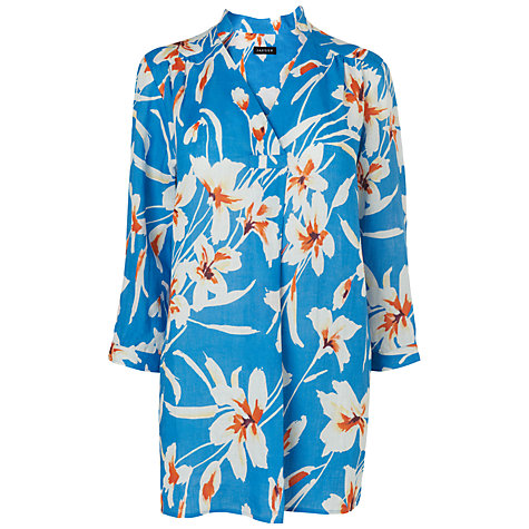 Buy Jaeger Iris Print Linen Tunic Top, Blue Online at johnlewis.com
