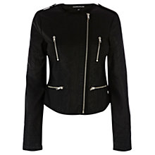Buy Warehouse Faux Leather Jacket, Black Online at johnlewis.com