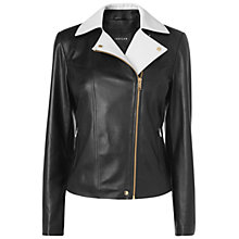 Buy Jaeger Contrast Collar Biker Jacket, Black Online at johnlewis.com
